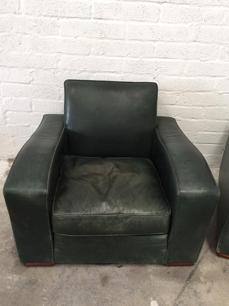 Art deco vintage leather sofa armchair - Art Deco Vintage Real Leather Sofa And Armchair Chair