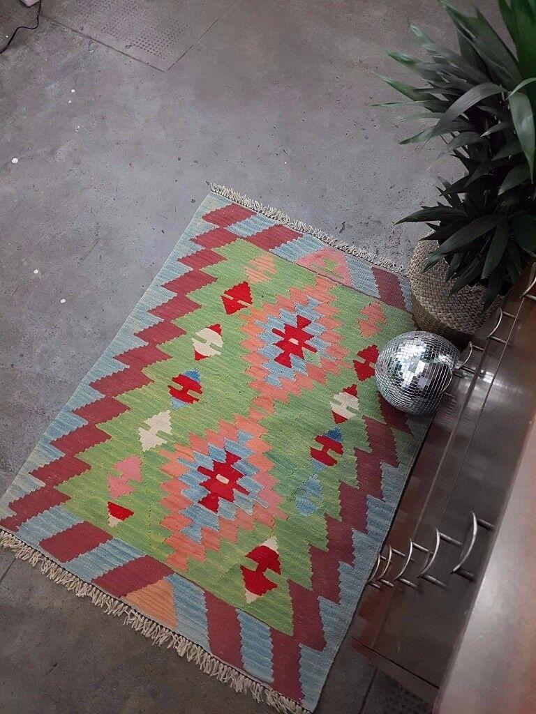 LEYLA - Antique Vintage Traditional Persian Kilm Wool 106 x 88cm Handmade Carpet Rugs