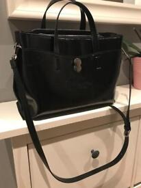 Like new black leather Zara bag