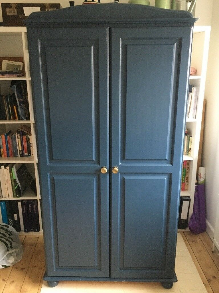 Pine Wardrobe Painted In Farrow And Ball Stiffkey Blue In Beckenham