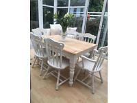 Chunky Pine Dining Table & 6 x Chairs