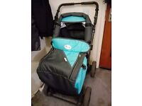 3-1 pushchair comes with carry cot and car seat.