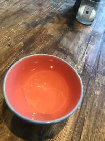 Orange and teal bowl - 14cm top diameter