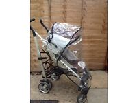 buggy with rain cover and foot muff