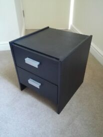 2 drawers black bedside chest