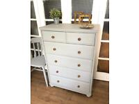 """Tallboy """"light grey"""" Free Delivery Ldn Shabby Chic Chest of drawers 6 drawers"""