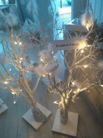 6 wedding light up tree centerpieces