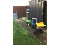 Toy New holland tractor with front loader and john Deere slurry tanker