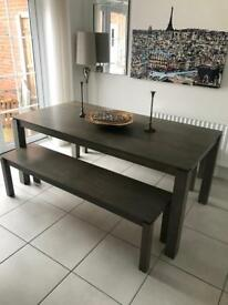 John Lewis Dining Table + Benches x2 (priced to sell fast, sensible offers considered)