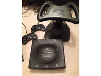 Sega Saturn two controllers and steering wheel
