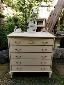 Vintage Decorative French Style Cream Chest of Drawers
