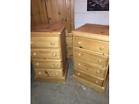 Two 4 draw pine units
