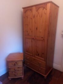 Pine Wardrobe and 2 Bedside drawers £70