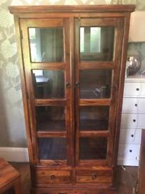 Large chunky solid dark wood bookcase cabinet
