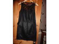 Ladies black dress with lace at top front and back. Sz 14