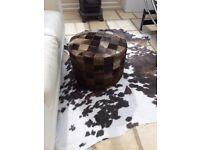 Beautiful Black REAL Cowhide Pouffee