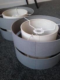 Grey Cotton Modern Light Shades x2