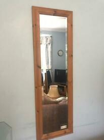 Beech Mirror H42in/107cm W14.5in/37cm Good condition