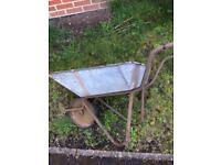 Vintage metal Wheel barrow / flower pot