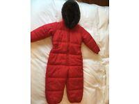 Red fleece lined Next snowsuit age 3-4