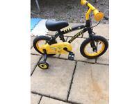 Boys black and yellow 12 inch bike