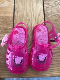 Brand new Peppa pig jelly shoes size 3