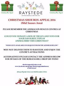Mid Sussex Christmas Shoebox Appeal for Raystede Animal Welfare