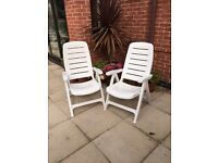 White High Back Reclining Garden Chairs