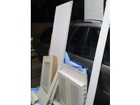 MDF Sheet 40mm thick + various MDF pieces inc decorative pillars + dishwasher door + radiator guard