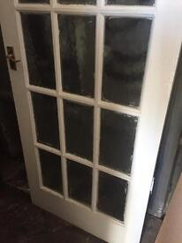 Cream internal door 15 glasses panels with handles and hinges