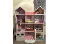 Extra large Wooden 4 storey dolls house for barbies