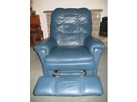 Blue leather extending armchair in excellent condition