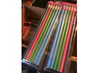 240 glittery pencils with rubbers