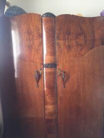 Vintage wardrobe and dresser with original mirror. Refurb project!