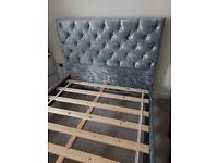 Silver crushed velvet double bed standard.