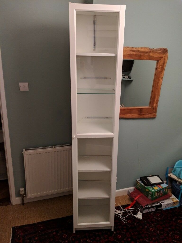 Ikea White Billy Bookcase With Glass Doors And Lights In Dawlish Devon Gumtree