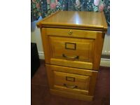 Small wooden two drawer filing/storage cabinet.