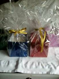Square glittered gift wrapped candles £7 each