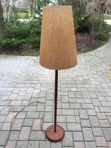 Mid Century Teak Floor Lamp with Shade