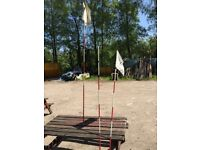 Set of 3 - Tacit Golf Flag Poles - 7 foor / 115cm - Red and White