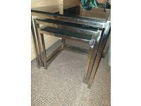 Nest of 3 black sparkle Tempered glass tables.