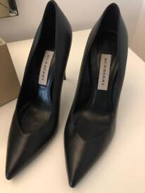 Genuine Burberry pumps high heels black leather worn once UK 5.5 box receipt tags included