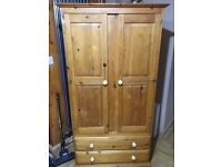 Solid pine wardrobe with two drawers & two doors