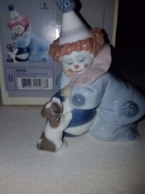 PIERROT WITH PUPPY & BALL - retired Lladro