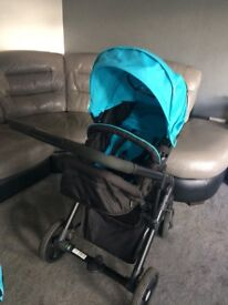 Boys 3 in 1 sky blue pram