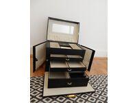 ARGOS Large Three Drawer Lockable Fully Lined Cream Jewellery Box