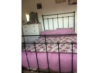 Double bed for sale - black metal frame
