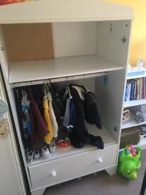White baby wardrobe with no doors