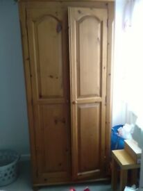 FOR SALE solid pine double wardrobe and drawers - both jointed and in good condition