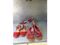Ladies shoes size 8 red 3 pairs